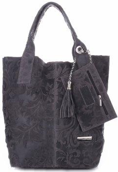 VITTORIA GOTTI Made in Italy Torebka Skórzana Shopperbag w Tłoczone Wzory Grafit