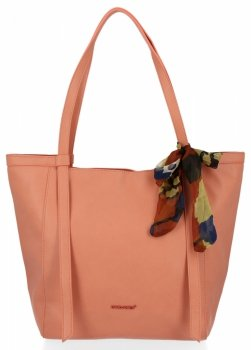 David Jones Uniwersalna Torebka Damska Shopper Bag z apaszką Koralowa