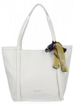 David Jones Uniwersalna Torebka Damska Shopper Bag z apaszką Biała