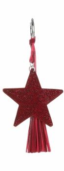 Dwustronny Brelok do torebki Stars z cyrkonami z grubym frędzlem Czerwony
