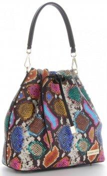 Vittoria Gotti Firmowa Torebka Skórzana Ekskluzywny Shopper Made in Italy w modny wzór kolorowego węża Multikolor