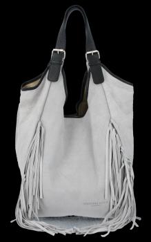 Modne Torebki Skórzane Shopper Bag z Frędzlami firmy Vittoria Gotti Jasno Szara