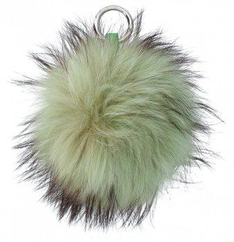Brelok do Torebki Duży Pompon z Naturalnego Włosa Jenota Zielony