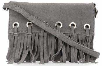 Vittoria Gotti Made in Italy Rewelacyjna Listonoszka Skórzana w stylu Boho Szara