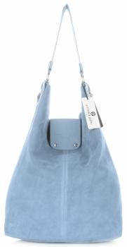 Duża Torba Skórzana Shopper XXL Vittoria Gotti Made in Italy zamsz naturalny wysokiej jakości Błękitna