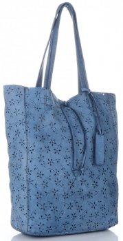 Vittoria Gotti Premium Torebka Skórzana Ażurowy ShopperBag w stylu Vintage Jeansowa