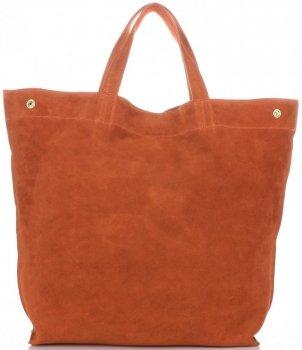 Włoski Skórzany Shopper XL firmy Vera Pelle Pomarańczowy