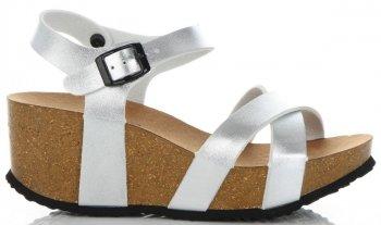 Stylowe Buty Damskie Koturny firmy Ideal Shoes Srebrne