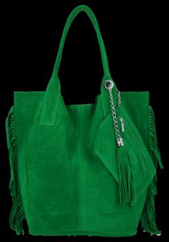 Modna Torebka Skórzana Zamszowy Shopper Bag w Stylu Boho firmy Vittoria Gotti Smocza Zieleń