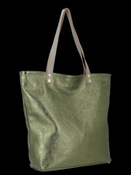 Modne Torebki Skórzane Włoski Shopper Bag firmy Vittoria Gotti Zielona
