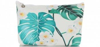 Firmowe i Modne Kosmetyczki w rozmiarze S marki David Jones wzór w kwiaty Multikolor Zielona