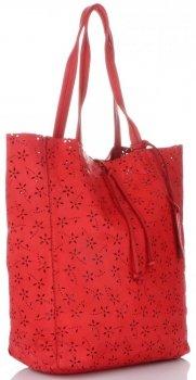 Vittoria Gotti Premium Torebka Skórzana Ażurowy ShopperBag w stylu Vintage Czerwona
