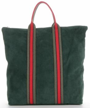 Vittoria Gotti Torebki Skórzane w modne paski Firmowy Shopper Made in Italy z funkcją Plecaczka Butelkowa Zieleń