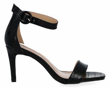 Czarne sandały na obcasie w motyw zwierzęcy firmy Bellucci