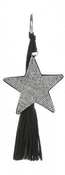 Dwustronny Brelok do torebki Stars z cyrkonami z grubym frędzlem Srebrno Czarny