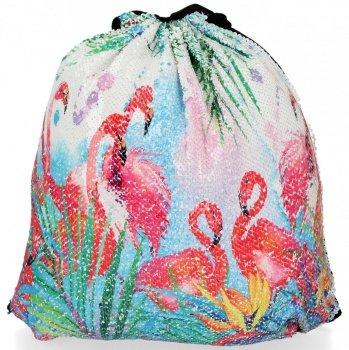 Modny Plecaczek Damski Worek z cekinami we wzór flaminga Biały