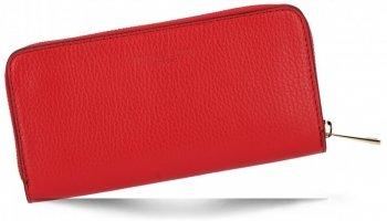 Vittoria Gotti Firmowy Skórzany Portfel Damski Made in Italy Czerwony
