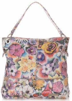 Uniwersalne Torebki Skórzane Vittoria Gotti we Wzory Kwiatów Multikolorowe Szara
