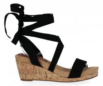 Lady Glory Czarne sandały damskie na koturnie