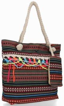 Modna Torebka Damska Boho Style w rozmiarze XL Aztec Bordowa
