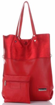 Vittoria Gotti Duży Włoski Skórzany Shopper XXL z Etui idealny na co dzień i na zakupy Czerwony