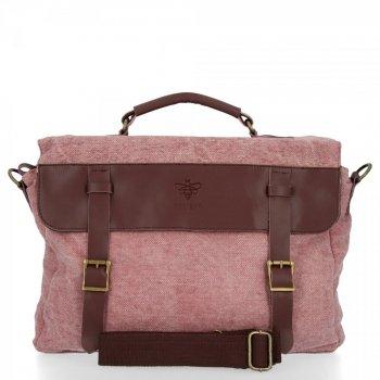 BEE BAG Uniwersalna Listonoszka Damska Vintage Style Różowa