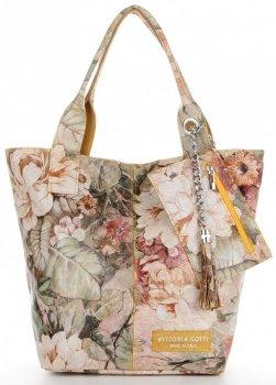 Vittoria Gotti Firmowy Shopper XL w modny wzór Kwiatów Żółta