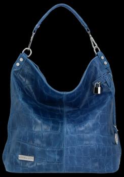 Vittoria Gotti Uniwersalna Torebka Skórzana w modny motyw żółwia Jeans