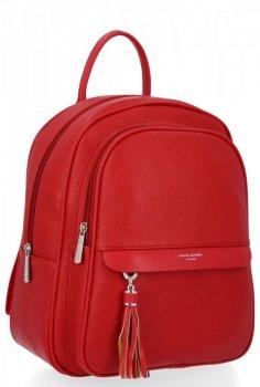 Uniwersalny Solidny Plecak Damski z kieszenią na tablet firmy David Jones Czerwony