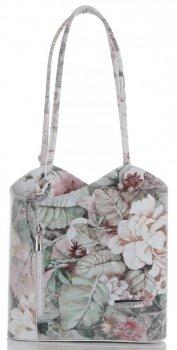 Uniwersalna Torebka Skórzana z funkcją plecaczka firmy Vittoria Gotti Made in Italy we wzory Kwiatów Biała