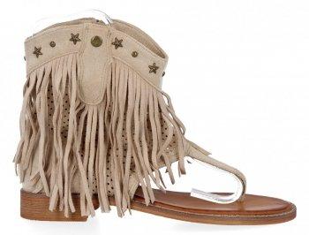 Beżowe sandały damskie z frędzlami firmy Givana