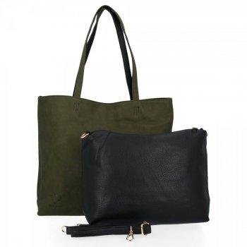 BEE BAG Torebki Damskie 2 w 1 Shopper z Listonoszką Grace Zielona/Czarna