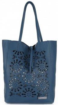 Modne Torebki Skórzane z Wycinanym Wzorem firmy Vittoria Gotti Niebieska Jeans
