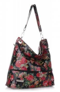 Uniwersalne Torebki Skórzane Vittoria Gotti XL we Wzory Kwiatów Multikolorowe Czarna