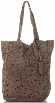 Vittoria Gotti Premium Torebka Skórzana Ażurowy ShopperBag w stylu Vintage Khaki