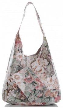 Torebka Skórzana firmy Vittoria Gotti Uniwersalny Włoski Shopper w modne wzory Kwiatów Różowa