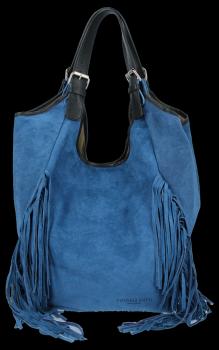 Modne Torebki Skórzane Shopper Bag z Frędzlami firmy Vittoria Gotti Jeans