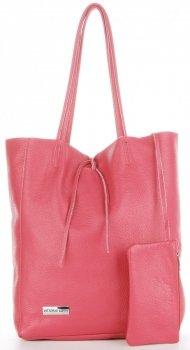 Torebki Skórzane VITTORIA GOTTI Modny Shopperbag z Etui Różowa