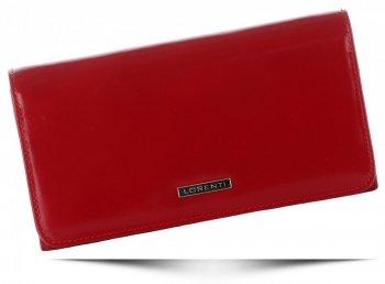 Duży Klasyczny Skórzany Portfel Damski firmy Lorenti Czerwony