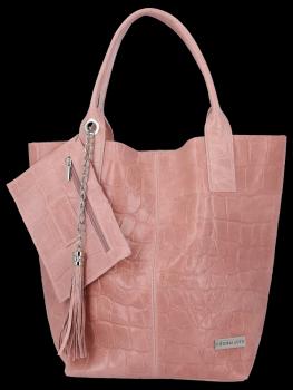 Uniwersalna Torebka Skórzana XL Shopper Bag w motyw zwierzęcy firmy Vittoria Gotti Różowa