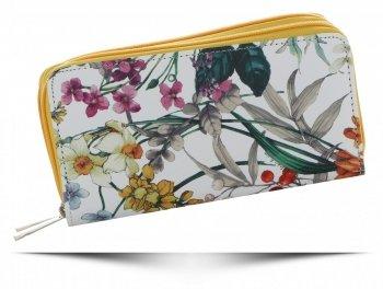 Dwukomorowe Portfele Damskie XL we wzór kwiatów David Jones Multikolor Żółty