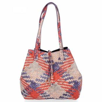 Torebka Damska Shopper Bag Venere Listonoszka Fioletowa/Czarna
