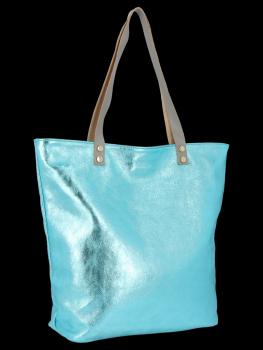 Modne Torebki Skórzane Włoski Shopper Bag firmy Vittoria Gotti Turkusowa