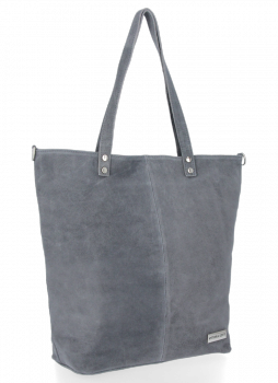 Uniwersalna Torebka Skórzana Shopper Bag firmy Vittoria Gotti Szara
