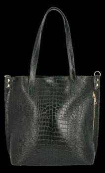 Vittoria Gotti Klasyczne Torebki Skórzane XL we wzór Aligatora Butelkowa Zieleń