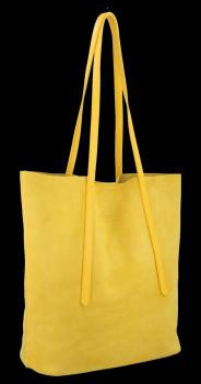 Włoskie Torebki Skórzane Uniwersalny Shopper renomowanej firmy Vittoria Gotti Żółta