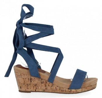 Lady Glory Granatowe sandały damskie na koturnie
