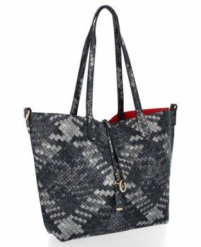 Torebka Damska Shopper Bag Venere Listonoszka Czarna/Czerwona