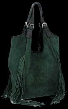 Modne Torebki Skórzane Shopper Bag z Frędzlami firmy Vittoria Gotti Butelkowa Zieleń