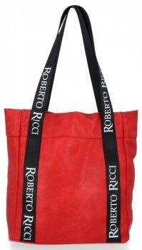 Roberto Ricci Firmowa Torebka Damska na co dzień Shopper z modnymi paskami Czerwona